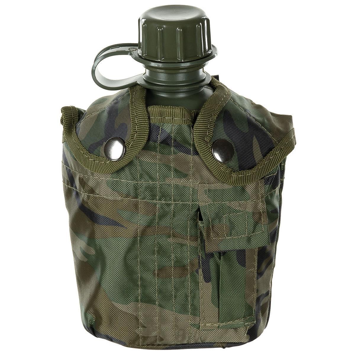 MFH US Plastikfeldflasche 1 l mit Hülle Woodland